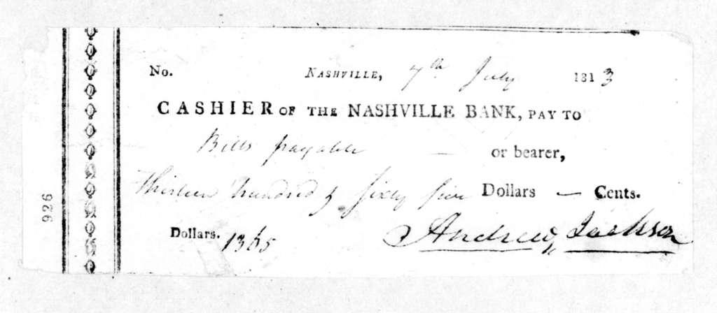 Andrew Jackson to Nashville Bank, July 7, 1813