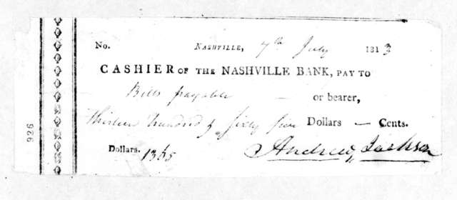 Andrew Jackson to Nashville Bank, July 7, 1813