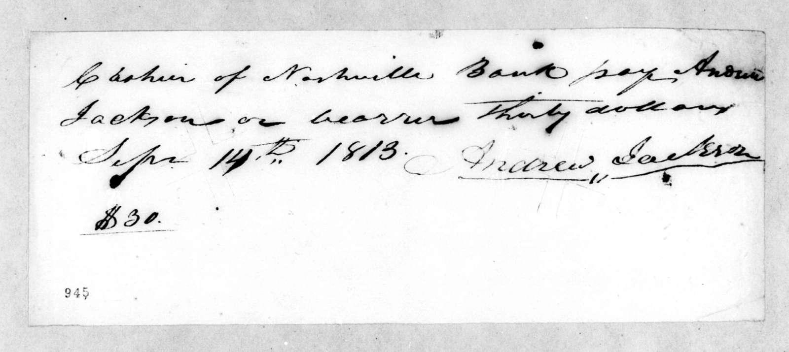 Andrew Jackson to Nashville Bank, September 14, 1813