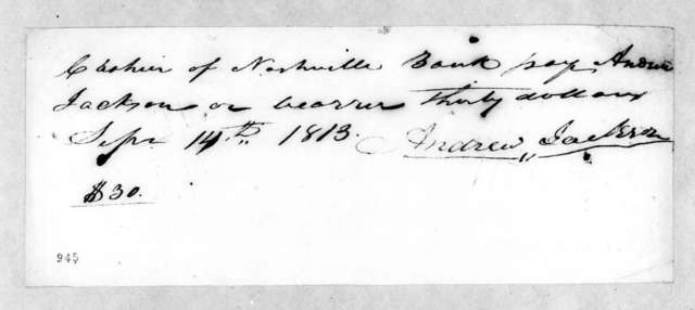 Andrew Jackson to Nashville Bank, September 14, 1813