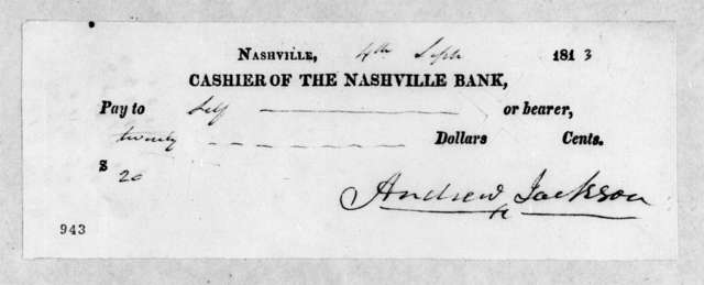 Andrew Jackson to Nashville Bank, September 4, 1813
