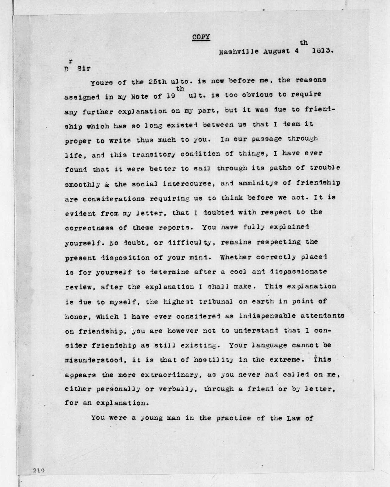 Andrew Jackson to Thomas H. Benton, August 4, 1813