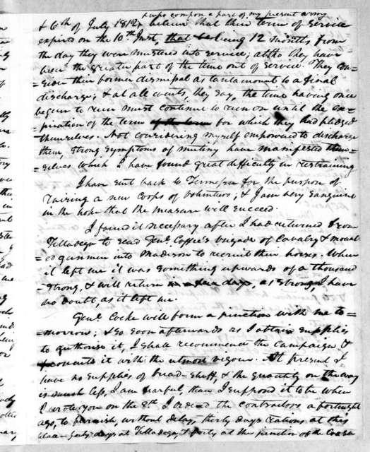 Andrew Jackson to Thomas Pinkney, December 11, 1813