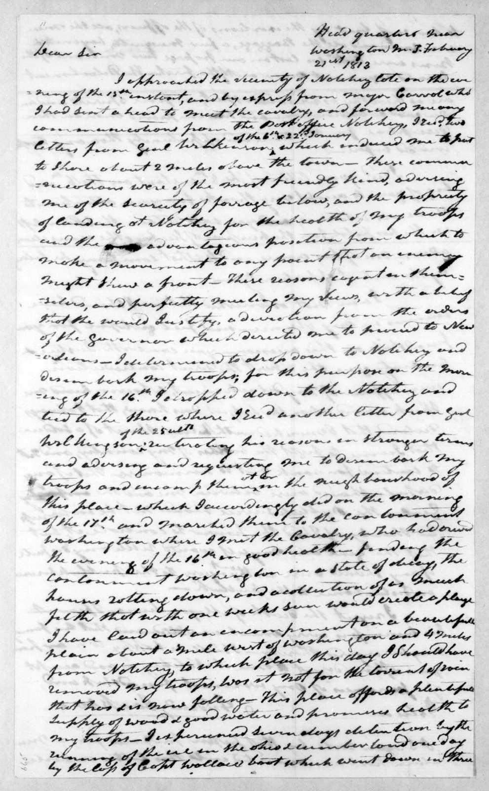 Andrew Jackson to William Berkeley Lewis, February 21, 1813