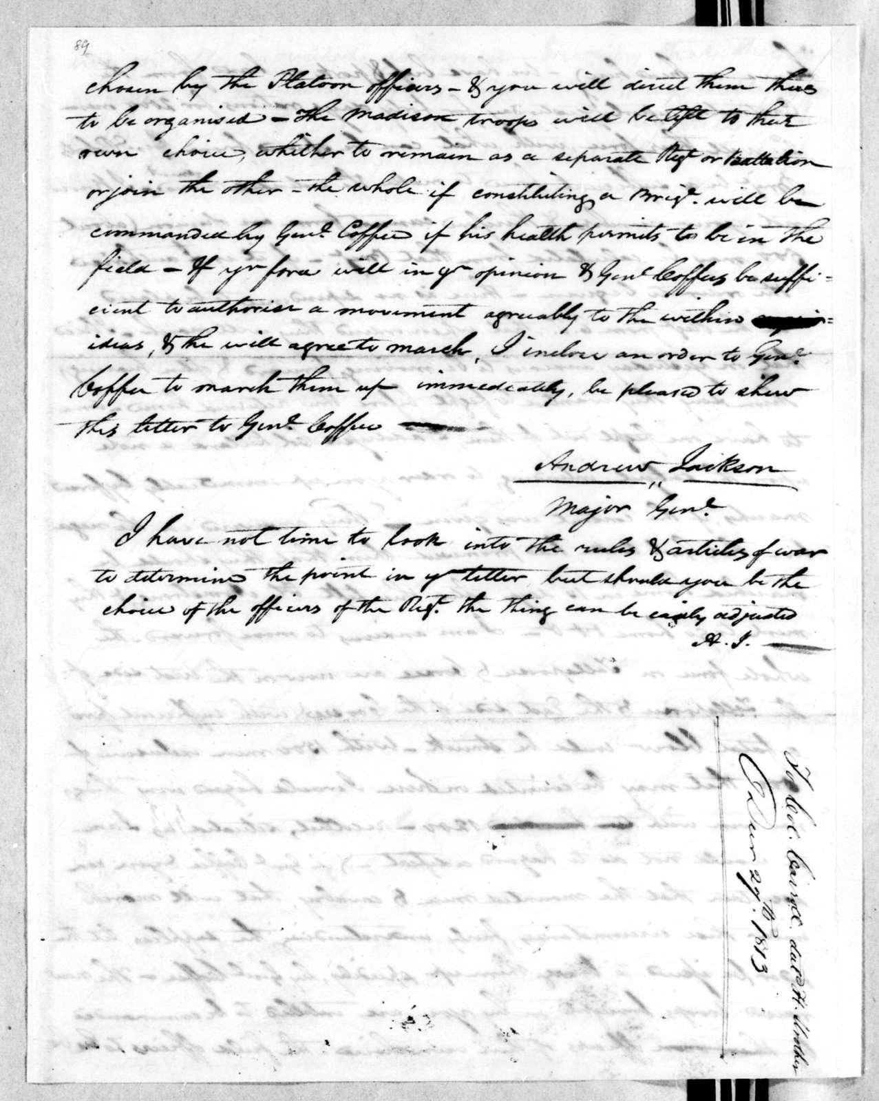 Andrew Jackson to William Carroll, December 27, 1813