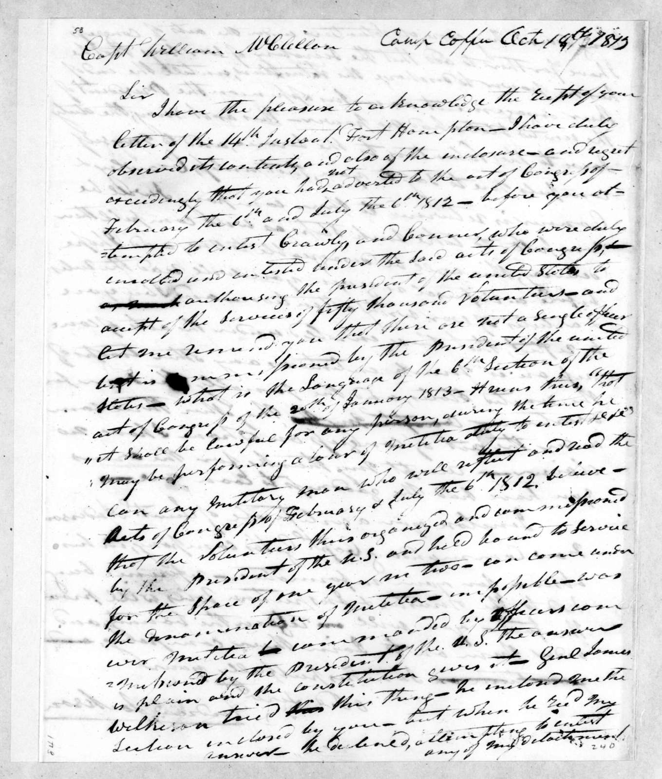 Andrew Jackson to William McClellan, October 18, 1813