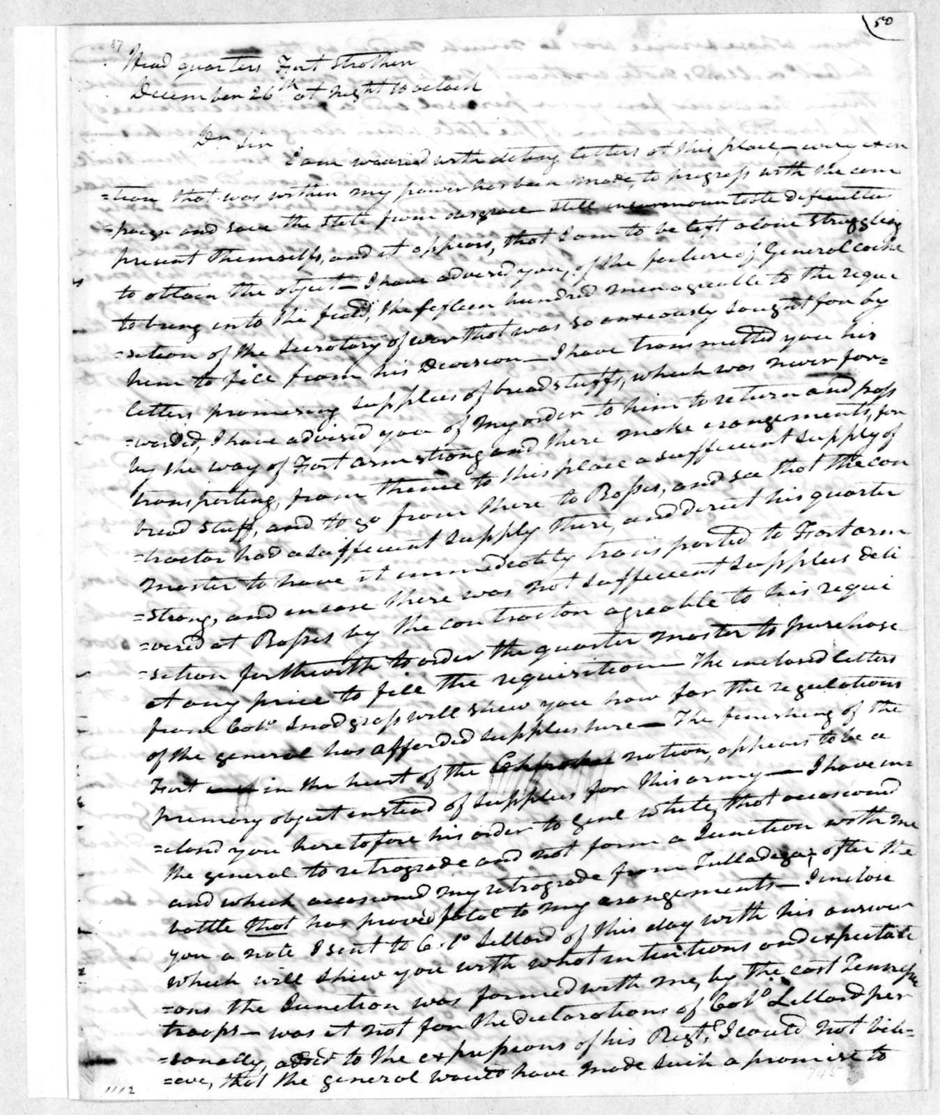 Andrew Jackson to Willie Blount, December 27, 1813