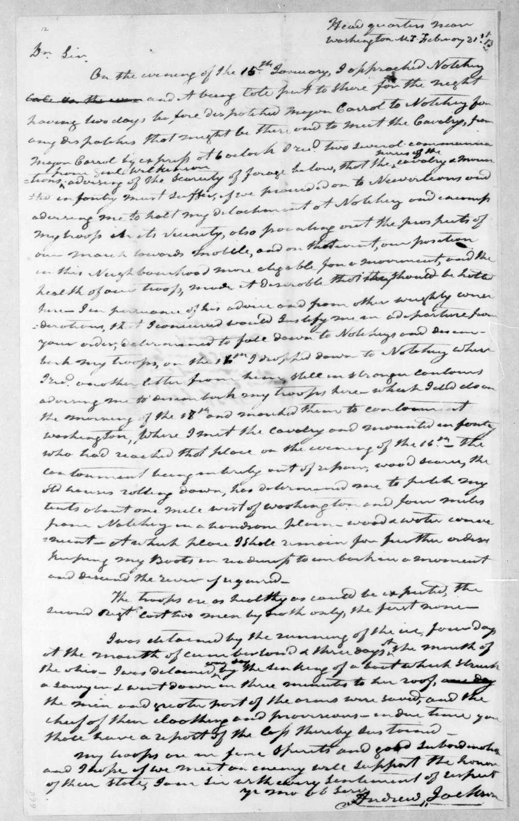 Andrew Jackson to Willie Blount, February 21, 1813
