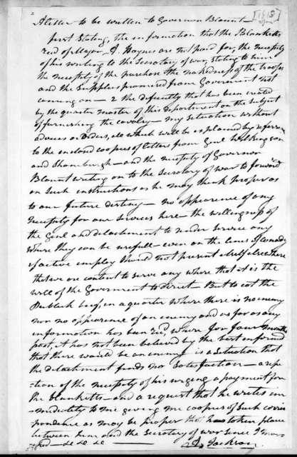 Andrew Jackson to Willie Blount, January 2, 1813