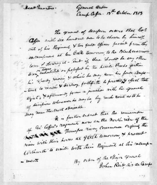 Andrew Jackson to Willie Blount, October 13, 1813