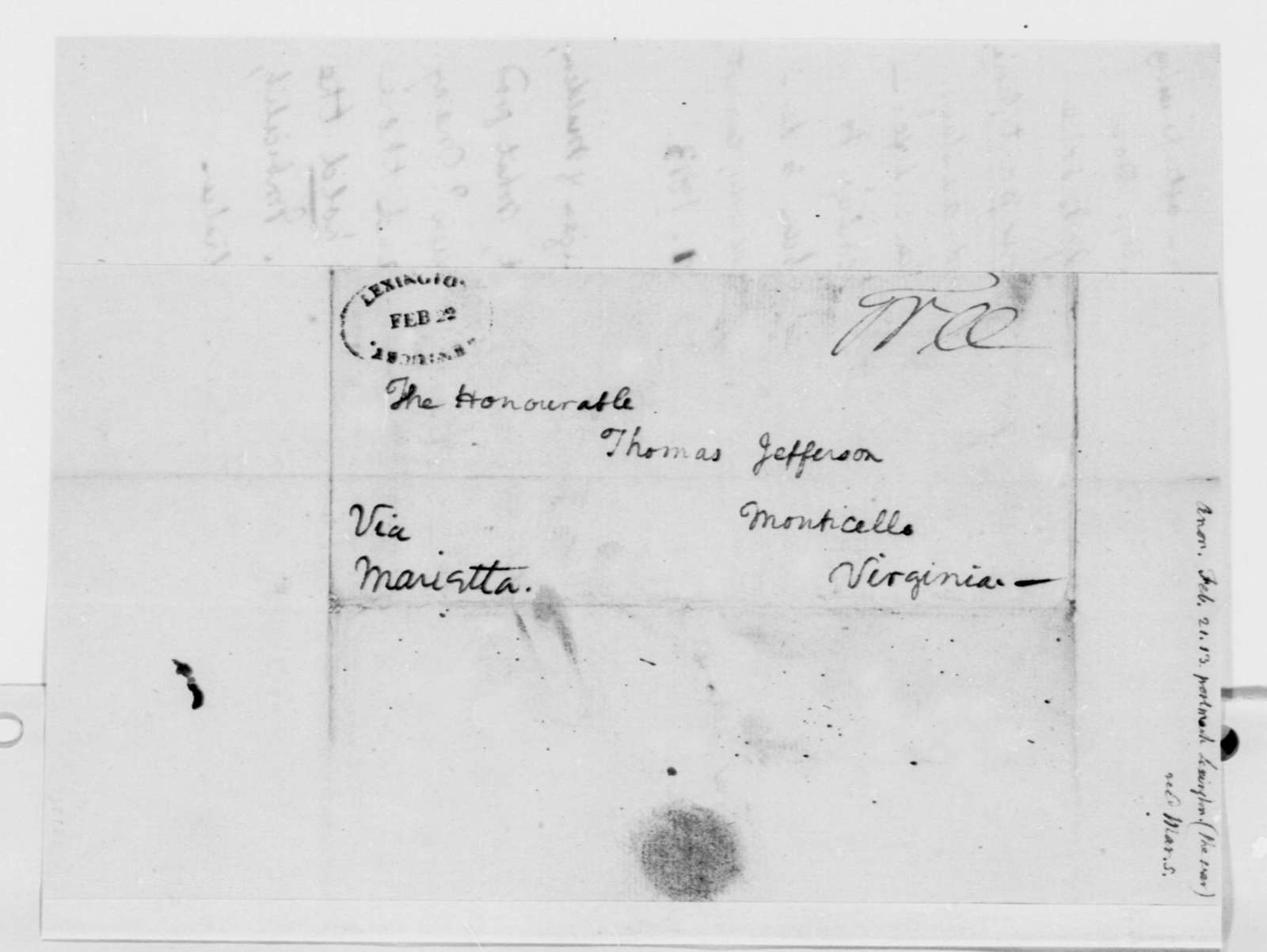 Anonymous to Thomas Jefferson, February 21, 1813