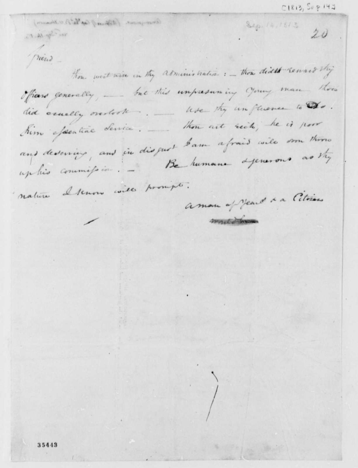 Anonymous to Thomas Jefferson, September 14, 1813, Signed A Man of Years & A Citizen