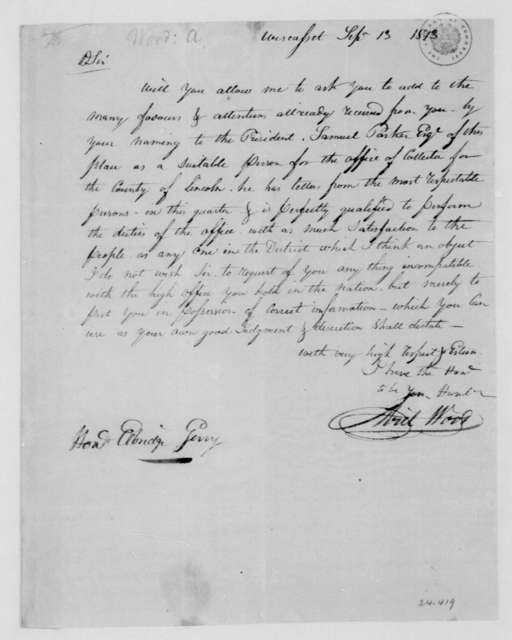 Ariel Wood to Elbridge Gerry, September 13, 1813.