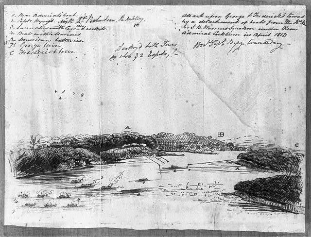 Attack upon George & Federick's towns by a detachment of boats from The R. Hon. Sir T. B. Warrens squadron under Rear Admiral Cockburn in April 1813