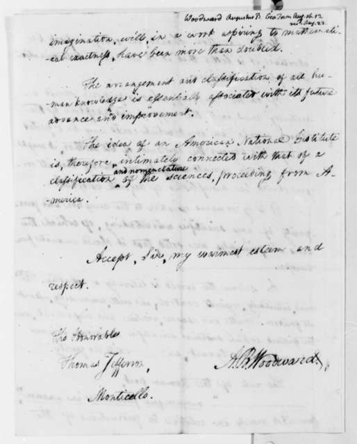 Augustus B. Woodward to Thomas Jefferson, August 16, 1813