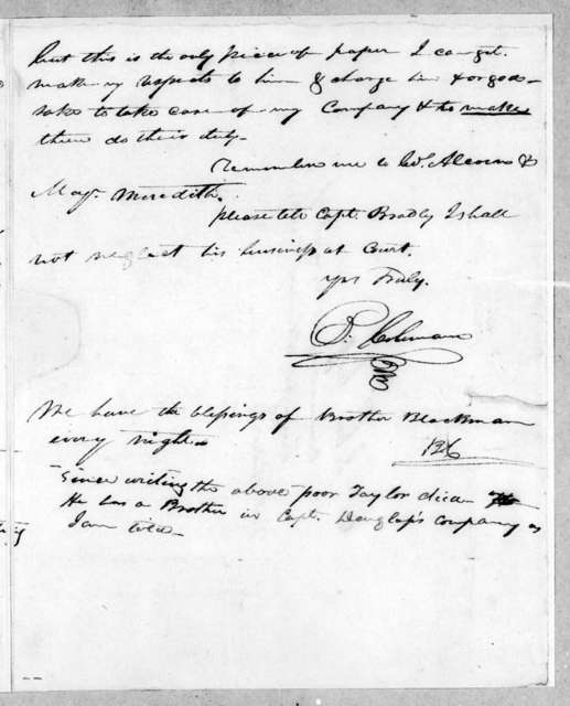 B. Coleman to John Coffee, March 25, 1813