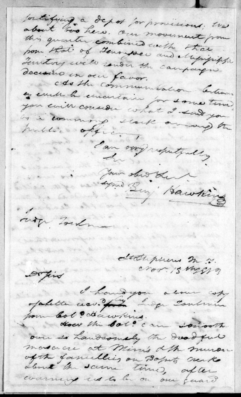 Benjamin Hawkins to Harry Toulmin, October 23, 1813