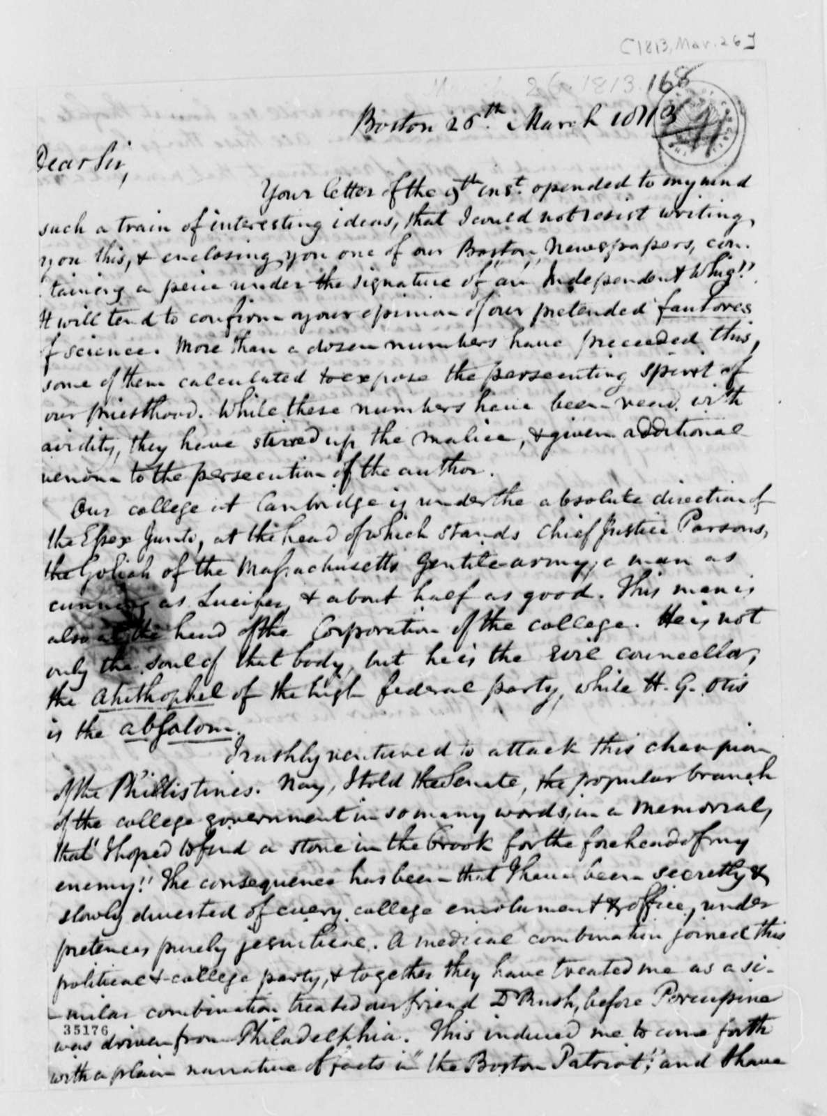 Benjamin Waterhouse to Thomas Jefferson, March 26, 1813