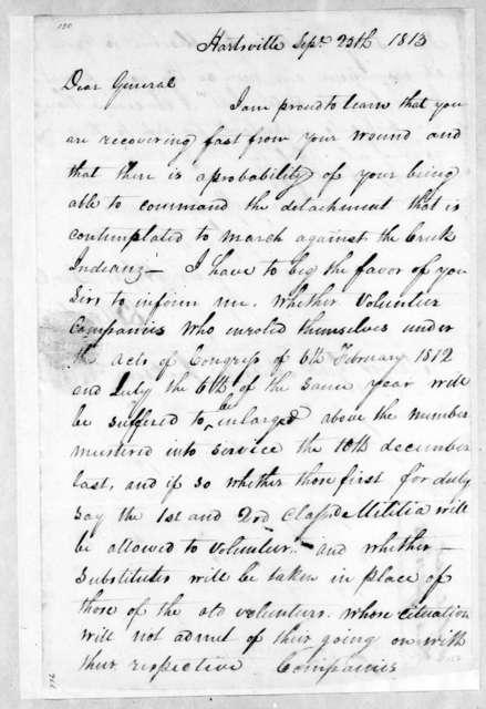 Brice Martin to Andrew Jackson, September 25, 1813