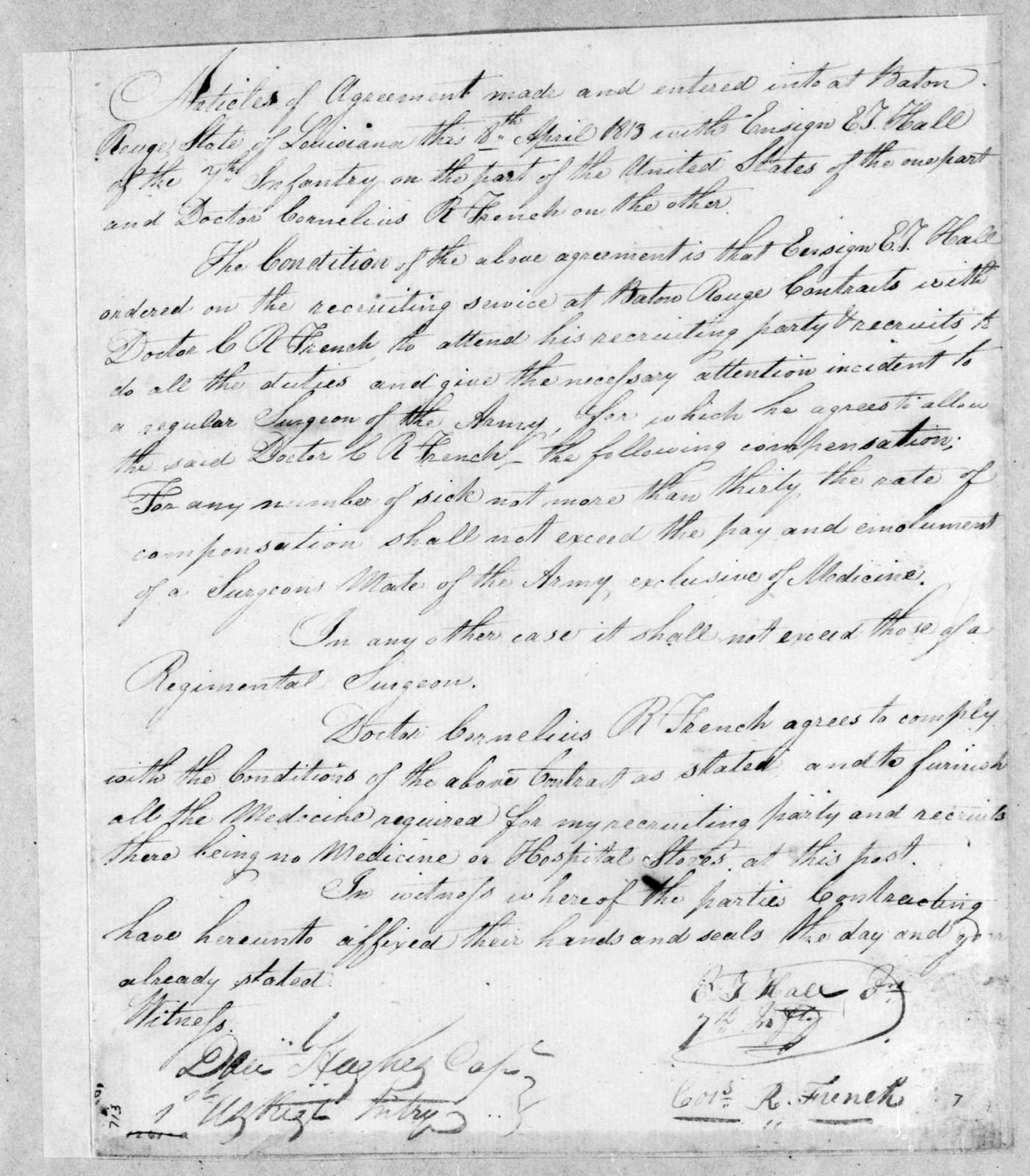 C. T. Hall to C. R. French, April 8, 1813