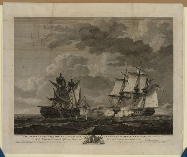 Capture of H.B.M. Frigate Macedonian, Capt. J.S. Carden by the U.S. frigate United States, Stephen Decatur, Esqr., Commander / painted by T. Birch, A.C.S.A. & P.A. ; engraved by B. Tanner, A.C.S.A.