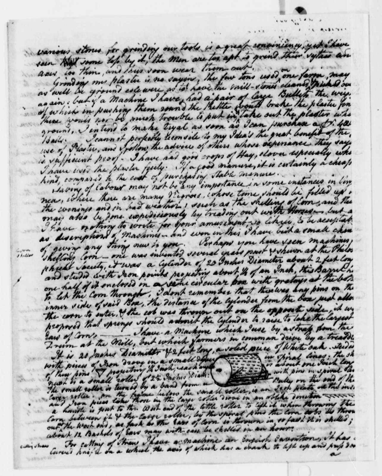 Charles Willson Peale to Thomas Jefferson, December 28, 1813, with Drawings