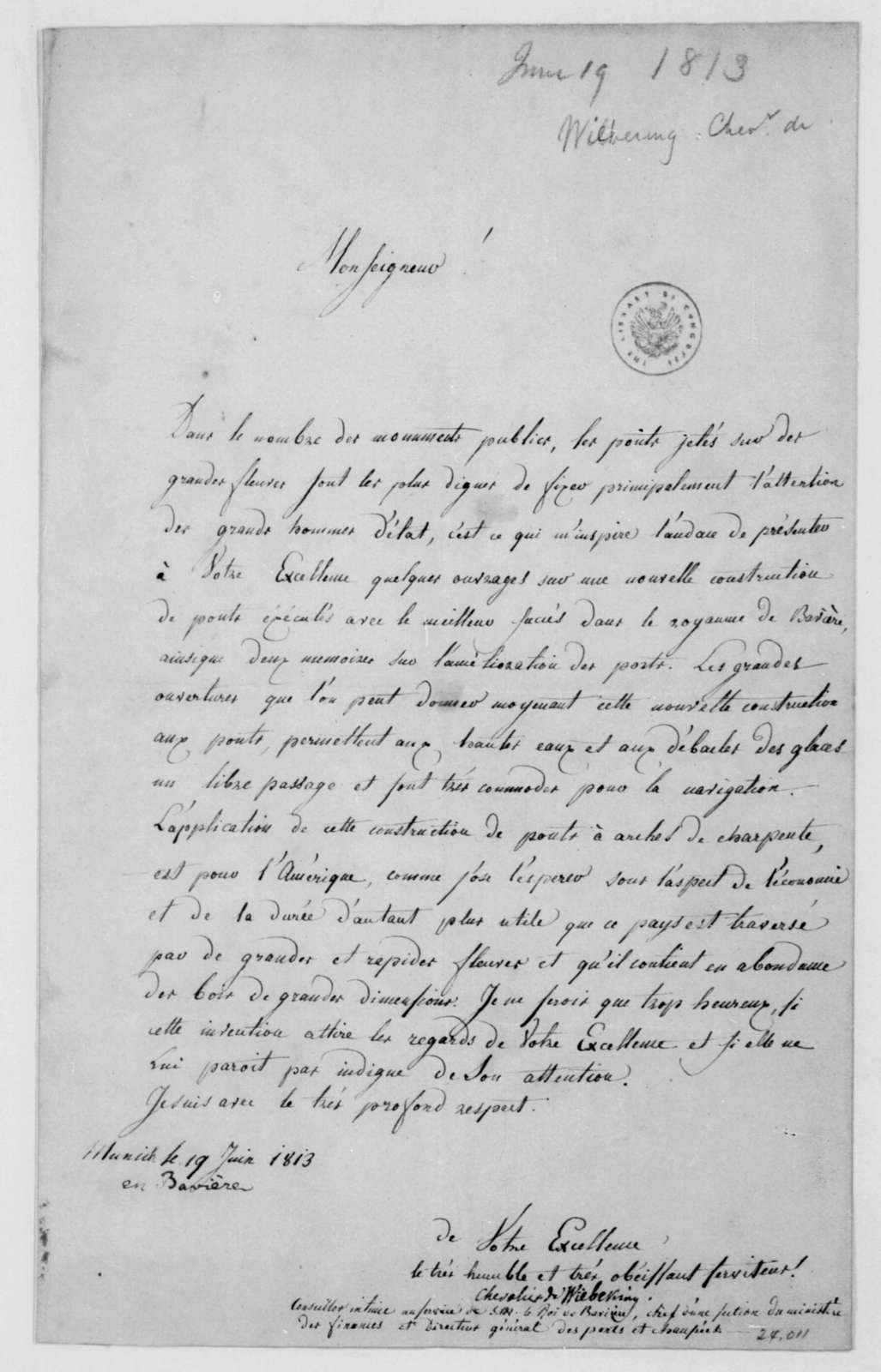 Chevalier de Wilbeking to James Madison, June 19, 1813. In French.