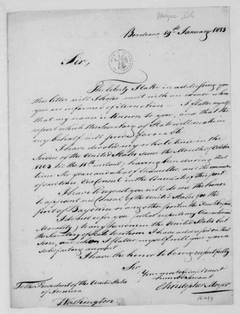 Christopher Meyer to James Madison, January 19, 1813.