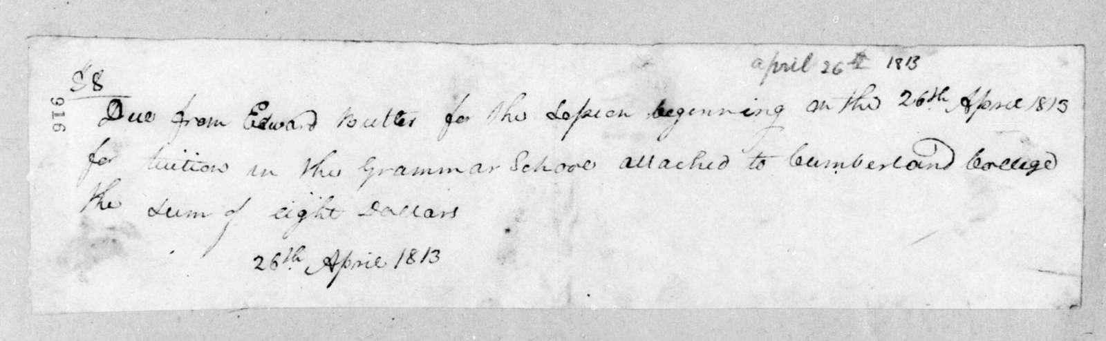 Cumberland College to Andrew Jackson, April 26, 1813