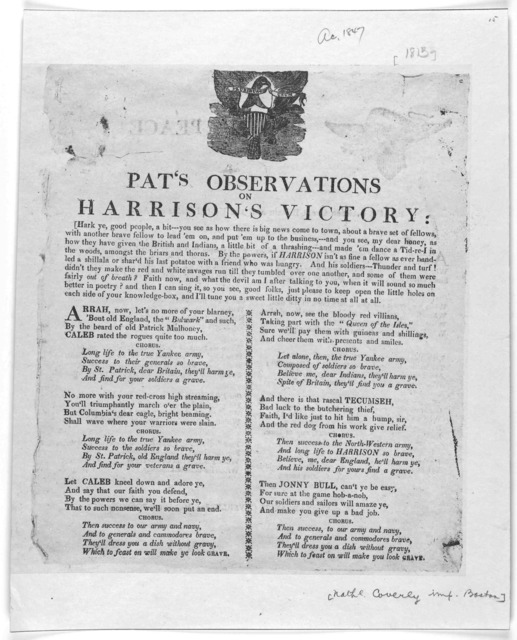 [Cut] Pat's observations on Harrison's victory ... [Boston: Printed by Nathaniel Coverley, 1813].