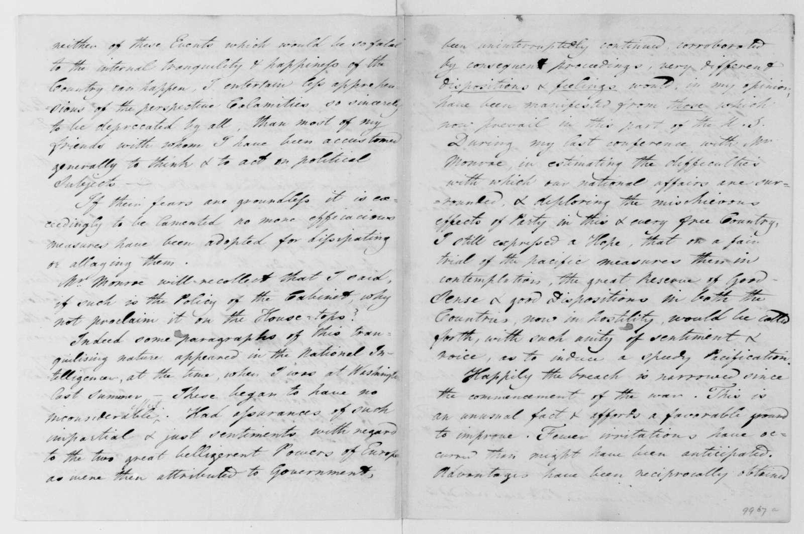 D. Humphreys to James Madison, February 19, 1813.