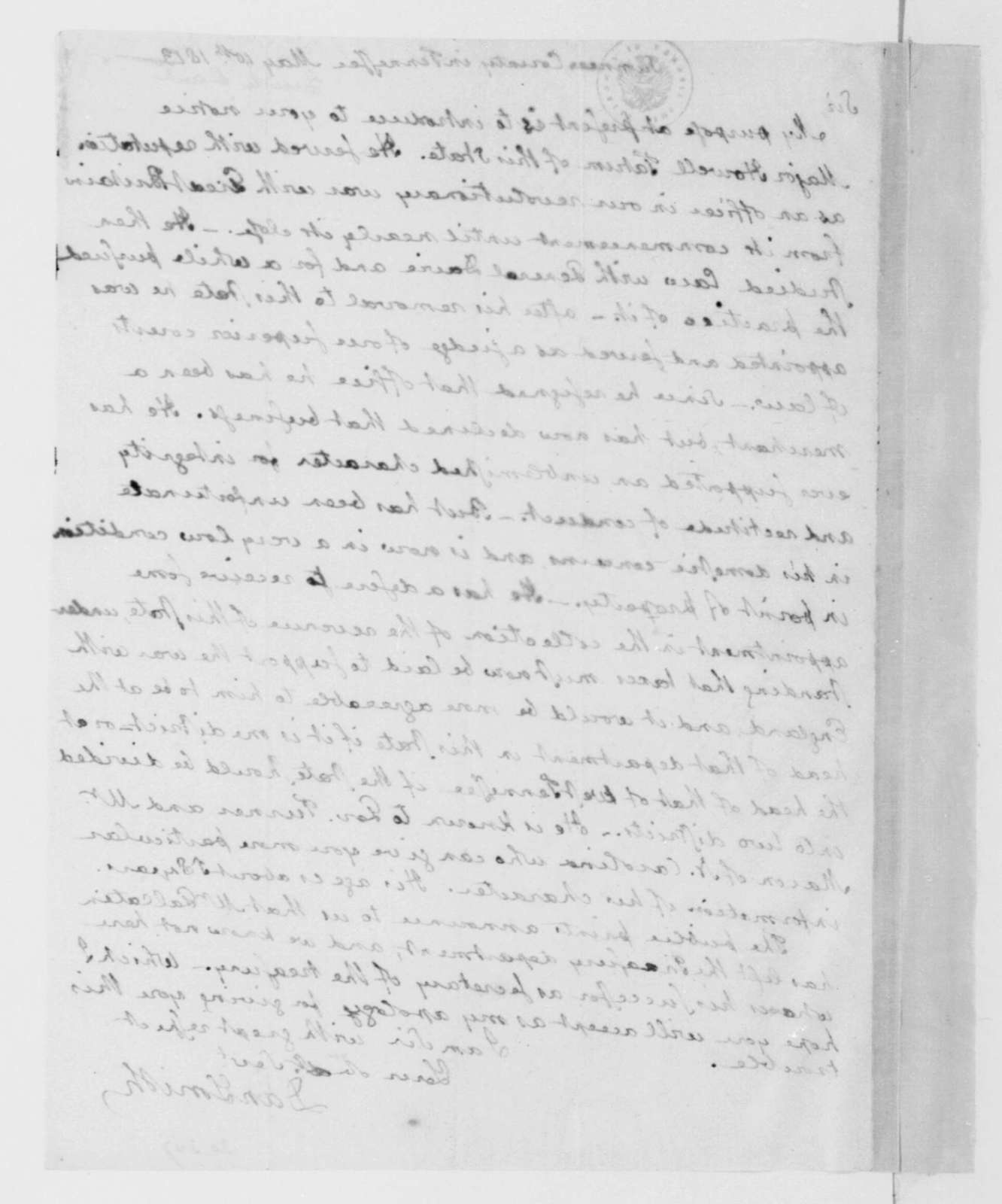 Dan Smith to James Madison, May 10, 1813.