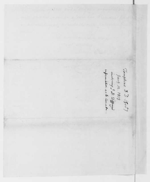 Daniel D. Tompkins to James Madison, January 12, 1813.