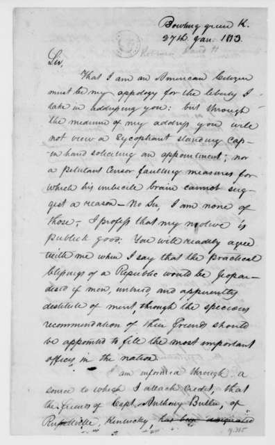 David H. Robinson to James Madison, January 27, 1813.