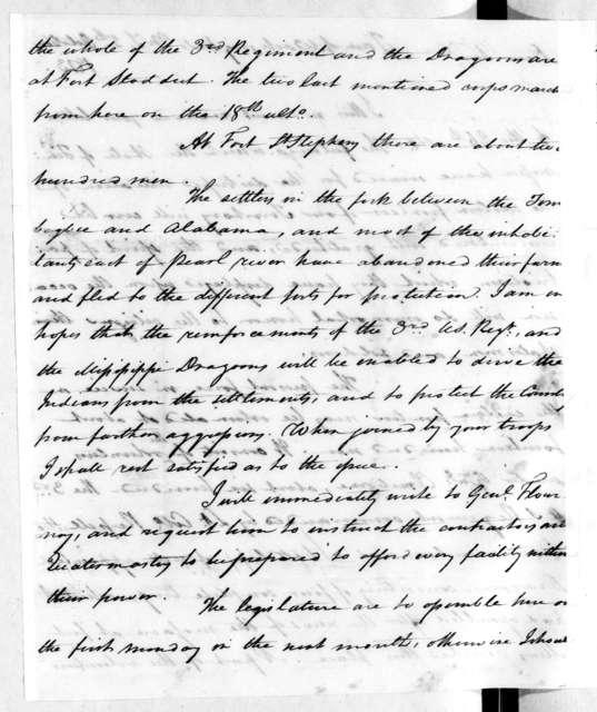 David Holmes to Andrew Jackson, October 5, 1813
