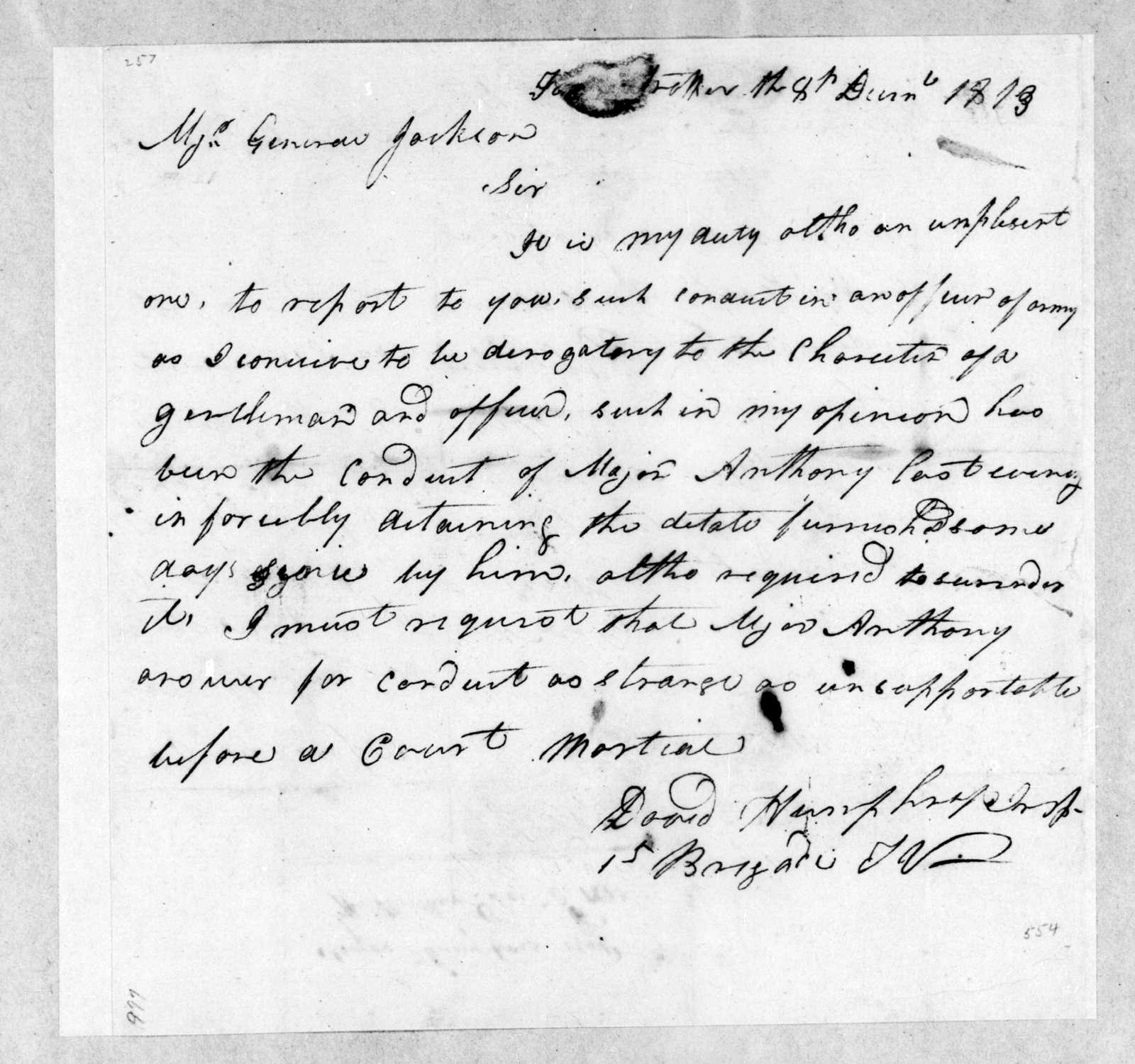 David Humphreys to Andrew Jackson, December 8, 1813