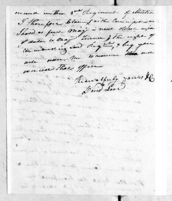 David Love to Andrew Jackson, December 2, 1813