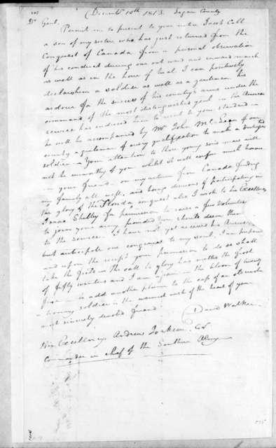 David Walker to Andrew Jackson, December 10, 1813