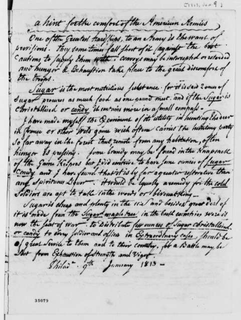 De Lormerie to Thomas Jefferson, January 9, 1813, in French