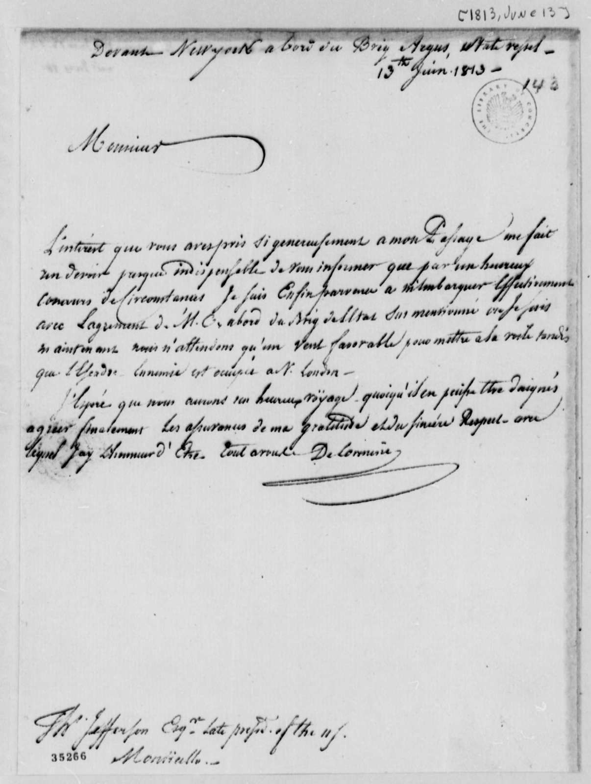 De Lormerie to Thomas Jefferson, June 13, 1813, in French