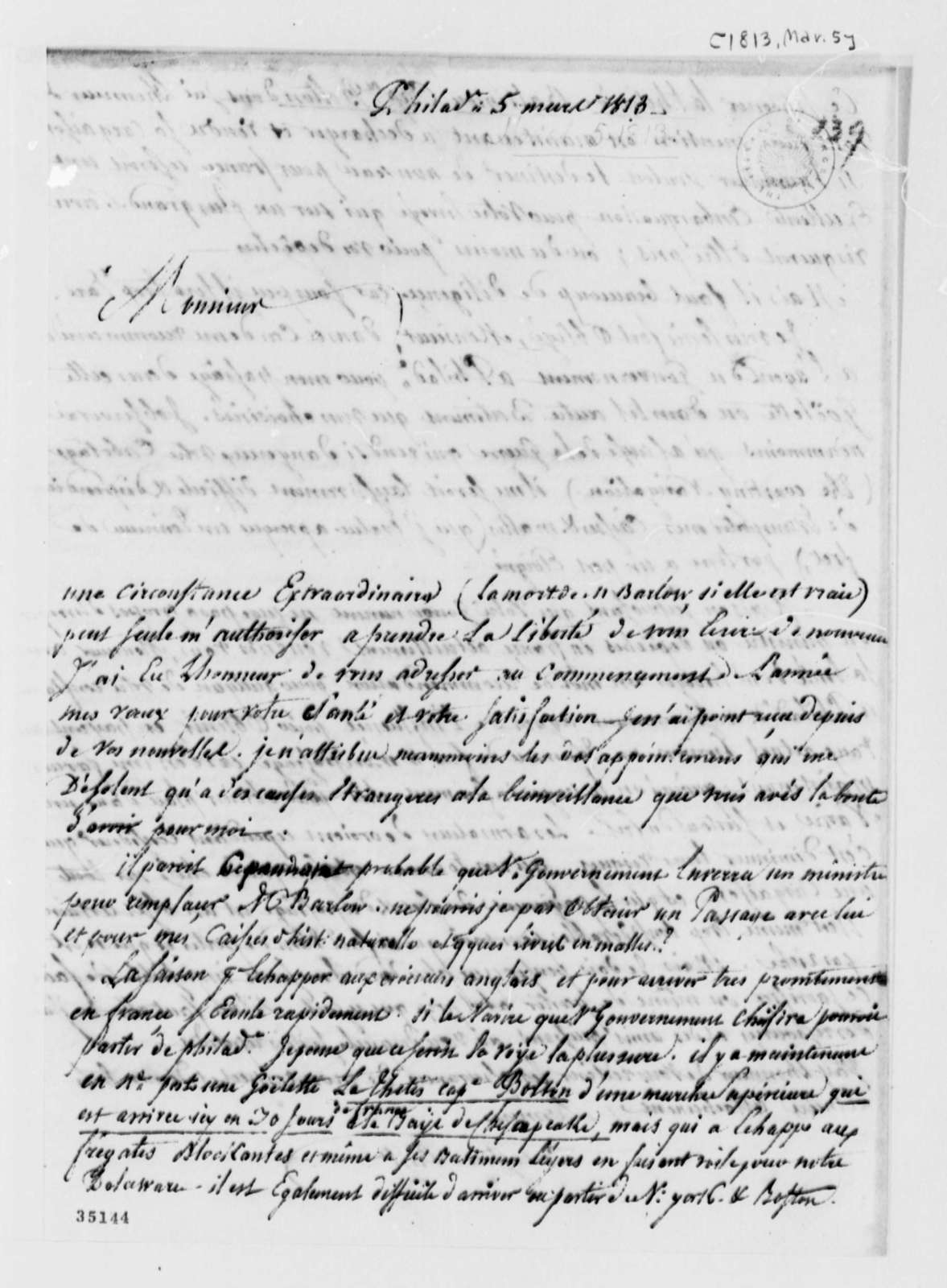 De Lormerie to Thomas Jefferson, March 5, 1813, in French
