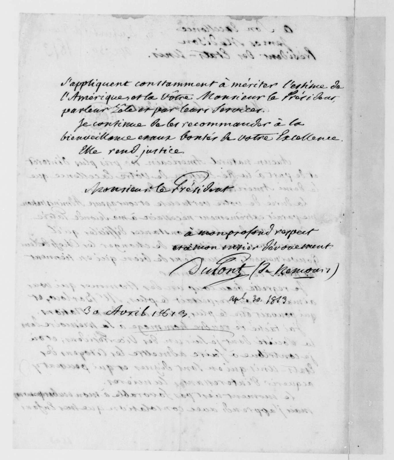 Dupont de Nemours to James Madison, April 30, 1813. In French.