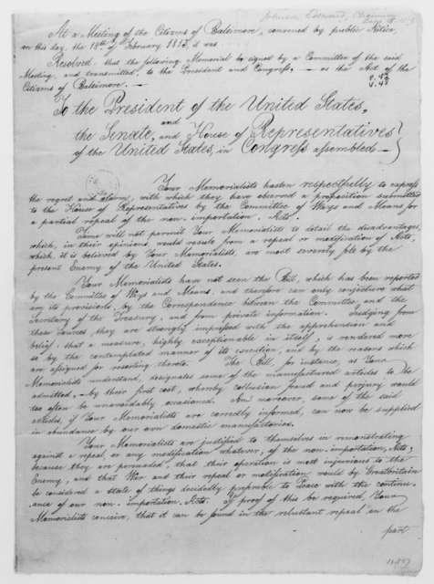Edward Johnson to James Madison, February 18, 1813. Memorial from the citizens of Baltimore.