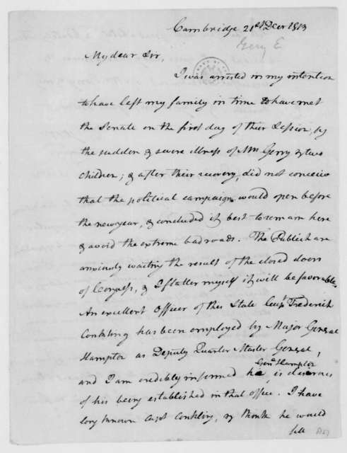 Elbridge Gerry to James Madison, December 21, 1813.