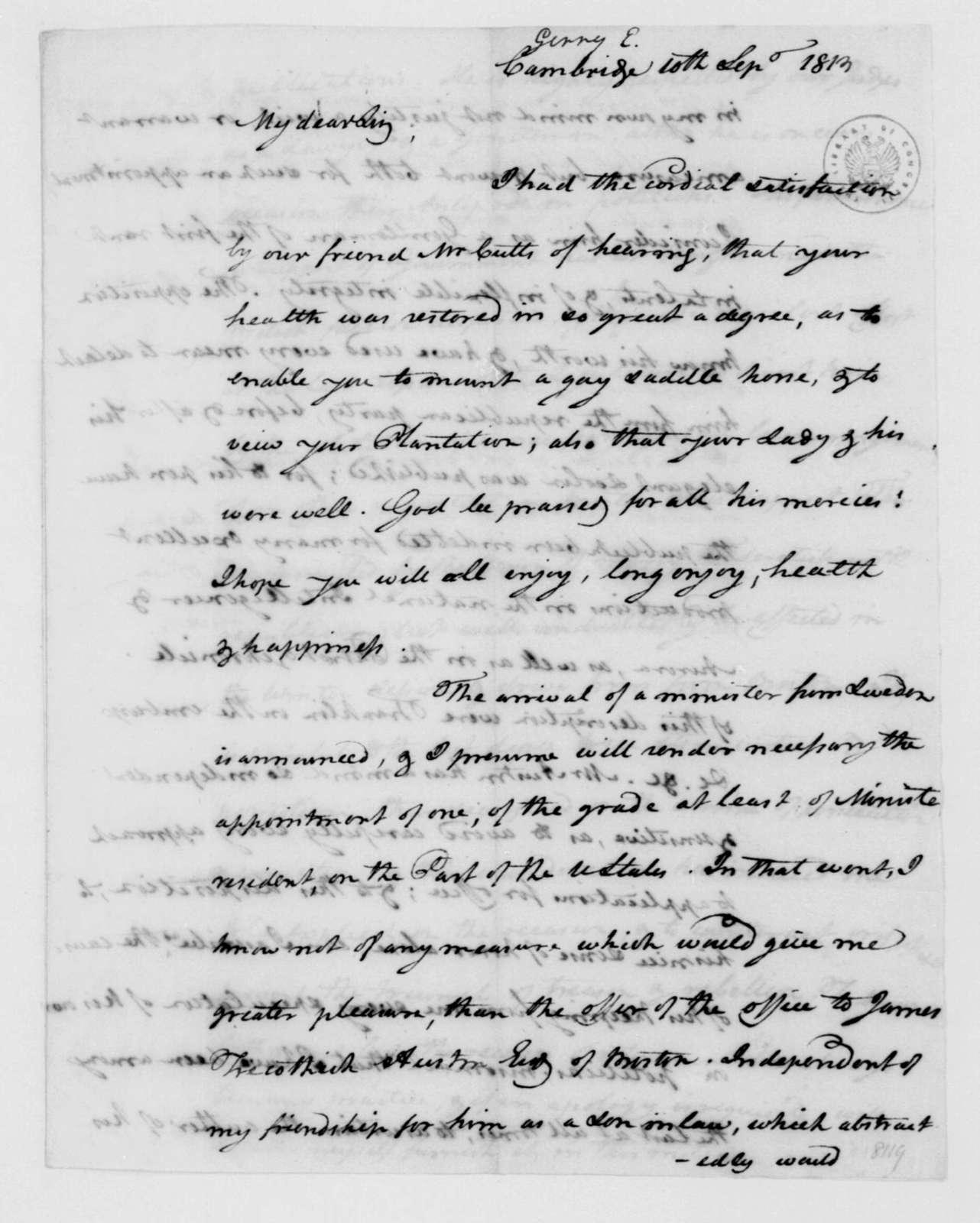 Elbridge Gerry to James Madison, September 10, 1813.