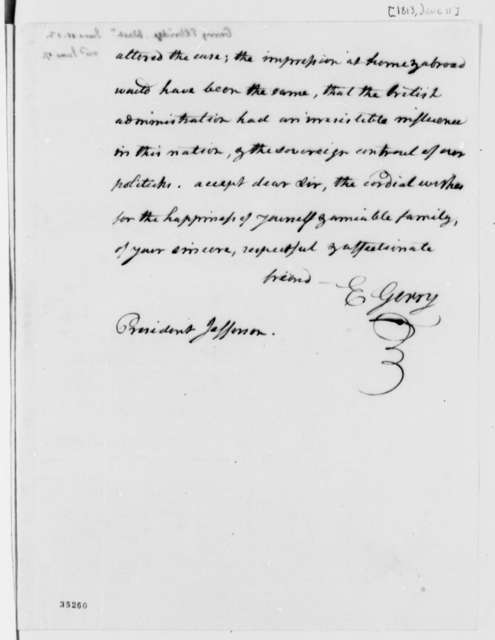 Elbridge Gerry to Thomas Jefferson, June 11, 1813