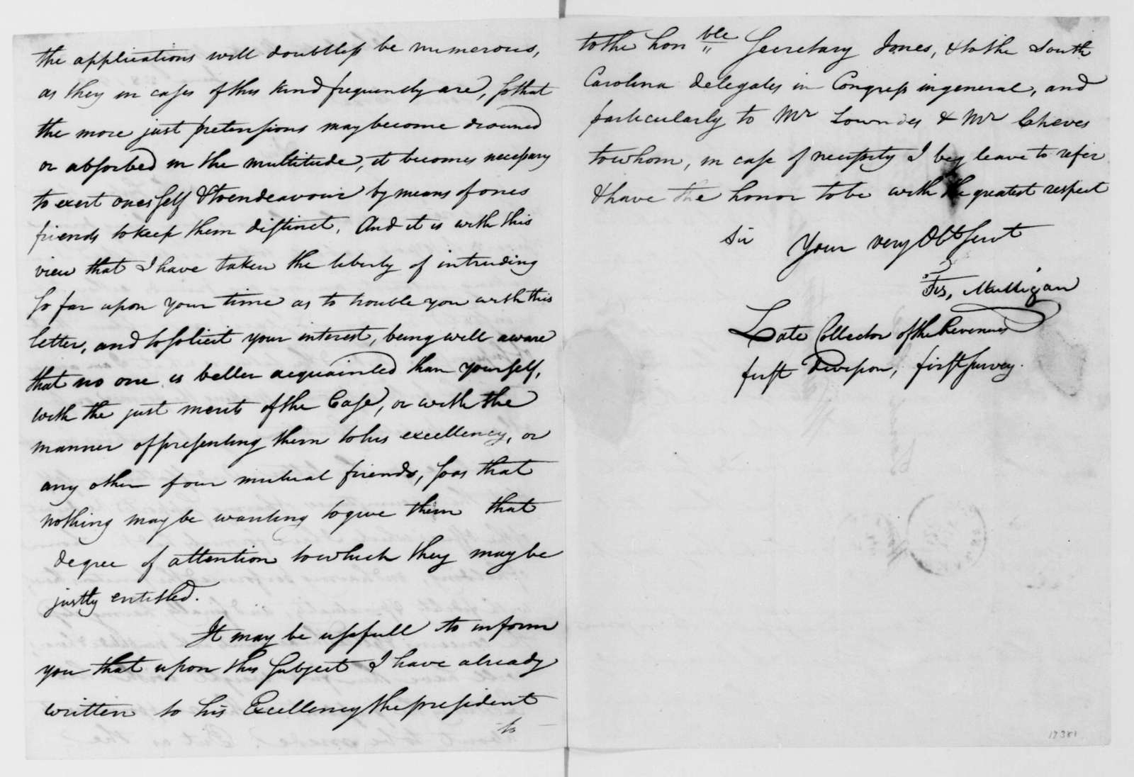 F. Mulligan to Tench Coxe, June 28, 1813.