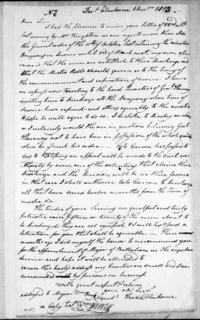 Ferdinand Leigh Claiborne to William Henry, December 1, 1813