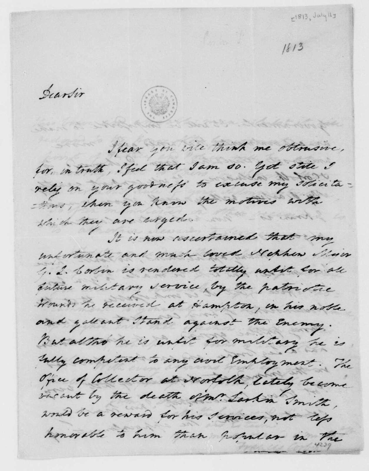Francis Corbin to James Madison, July 11, 1813.