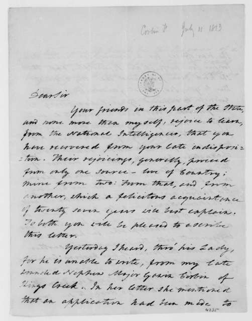 Francis Corbin to James Madison, July 11, 1813.